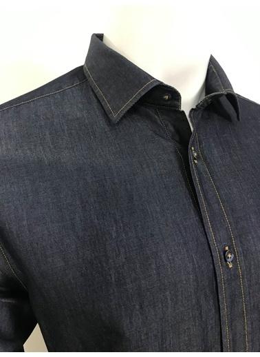 Abbate Yumuşak Yaka Denımlook Slımfıt Spor Gömlek Lacivert
